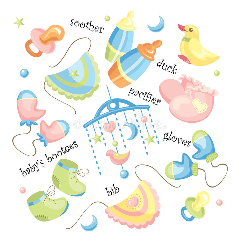 Vector set of baby clothing vector illustration