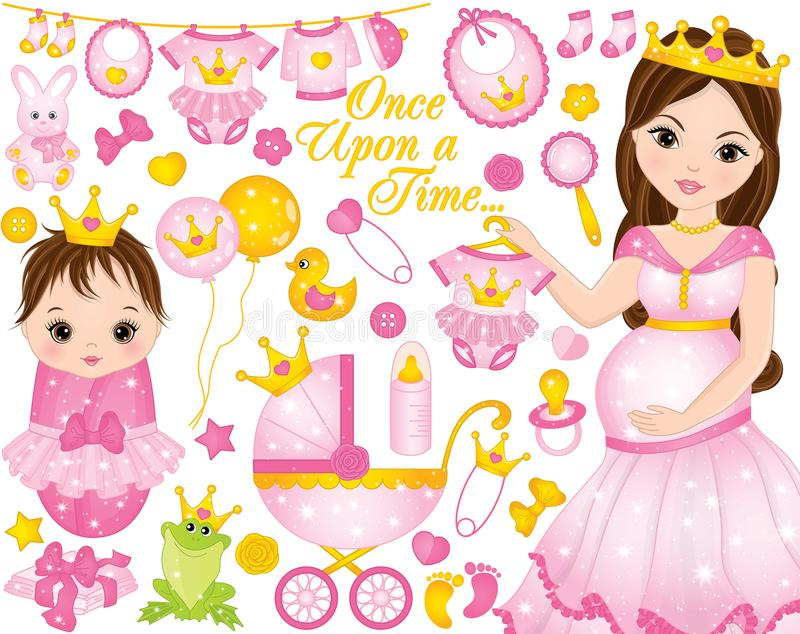 Vector Set for Baby Girl Shower with Pregnant Woman and Baby Girl Dresses as Princesses stock illustration