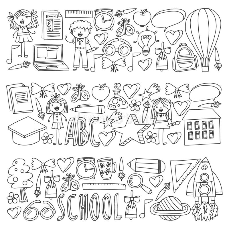 Vector set of Back to School icons in doodle style. Painted, colorful, pictures on a piece of paper on white background royalty free illustration