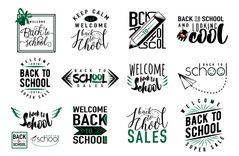 Vector Set of back to school, sale retro style elements. Typography and lettering vintage print back to school template. Graphic design for back to school vector illustration