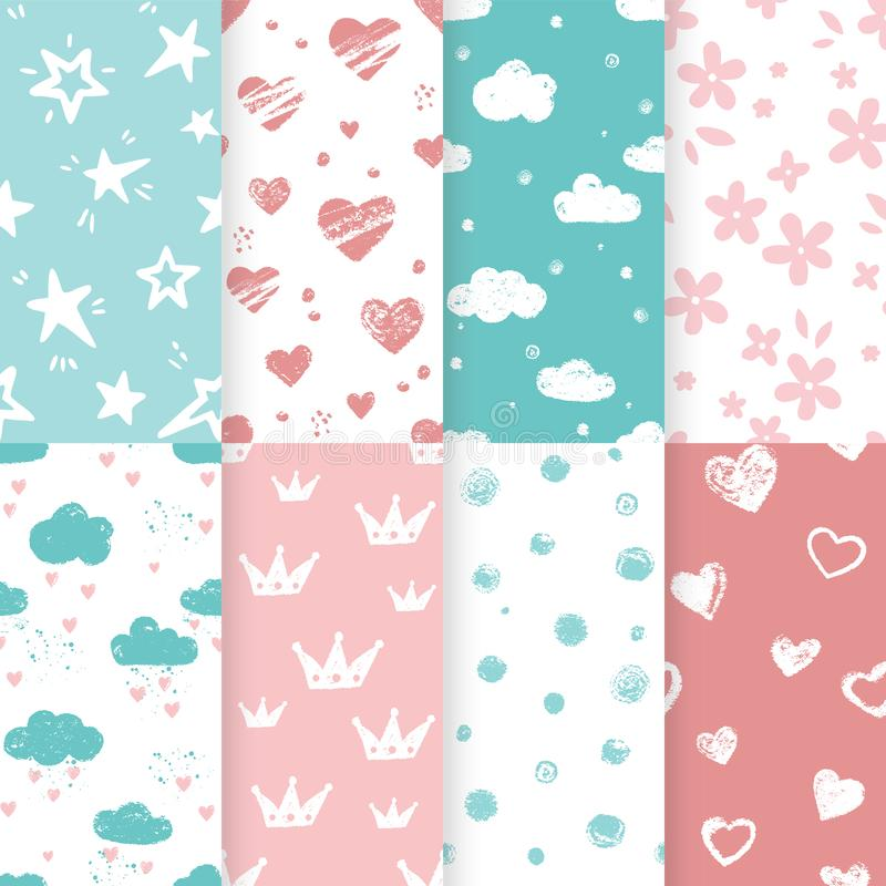 Vector set of 4 background seamless patterns in pale blue and pink colors. stock illustration