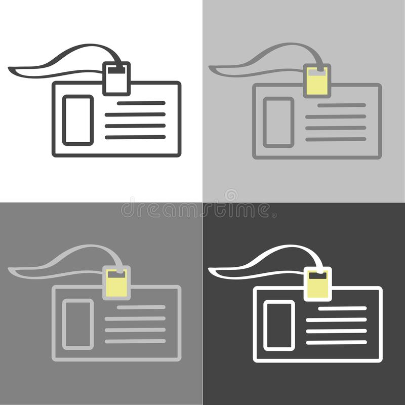 Vector set of badge icon. Identification card of a person. Business Forum. Corporate Culture. Vector icon on white-grey-black col vector illustration