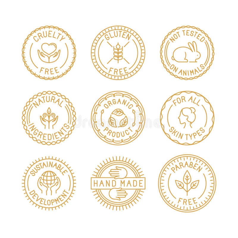Vector set of badges and labels for natural and organic cosmetic royalty free illustration