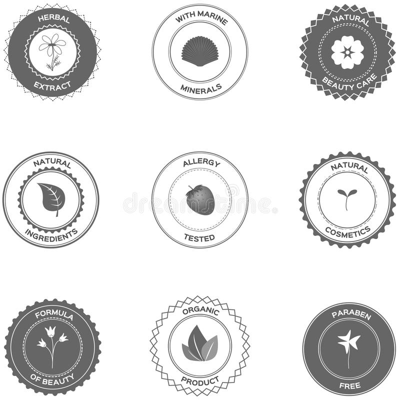 Cosmetics labels and badges vector illustration