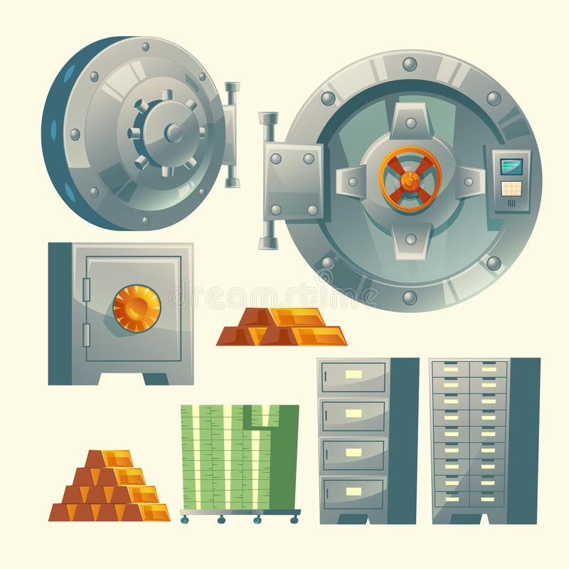 Vector bank vault, metallic iron safe door stock illustration