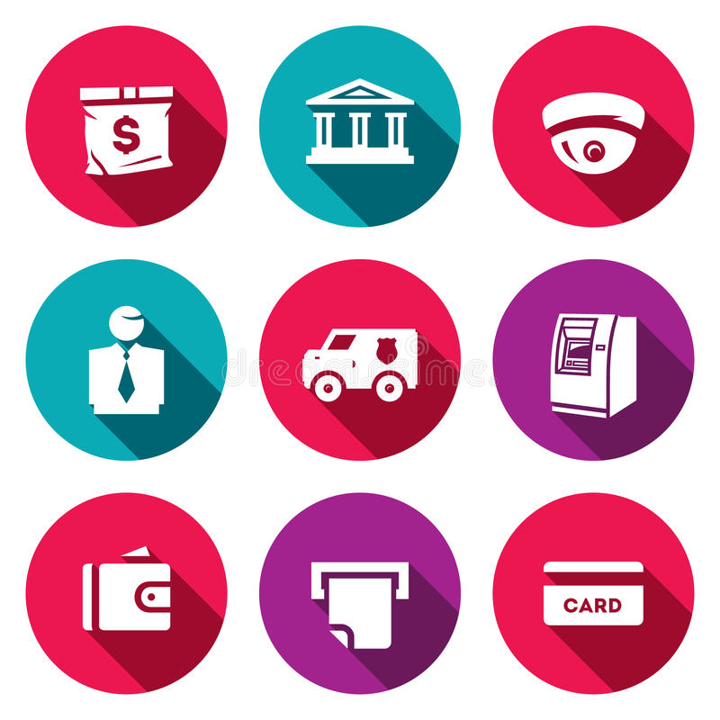 Vector Set Of Banking Services Icons. Money Bag, Bank Building, CCTV ...