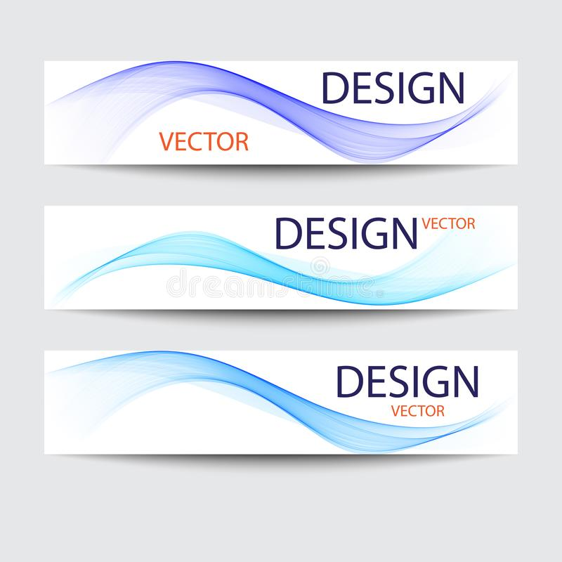 Vector set of banners. Abstract backgrounds with blue wave vector illustration