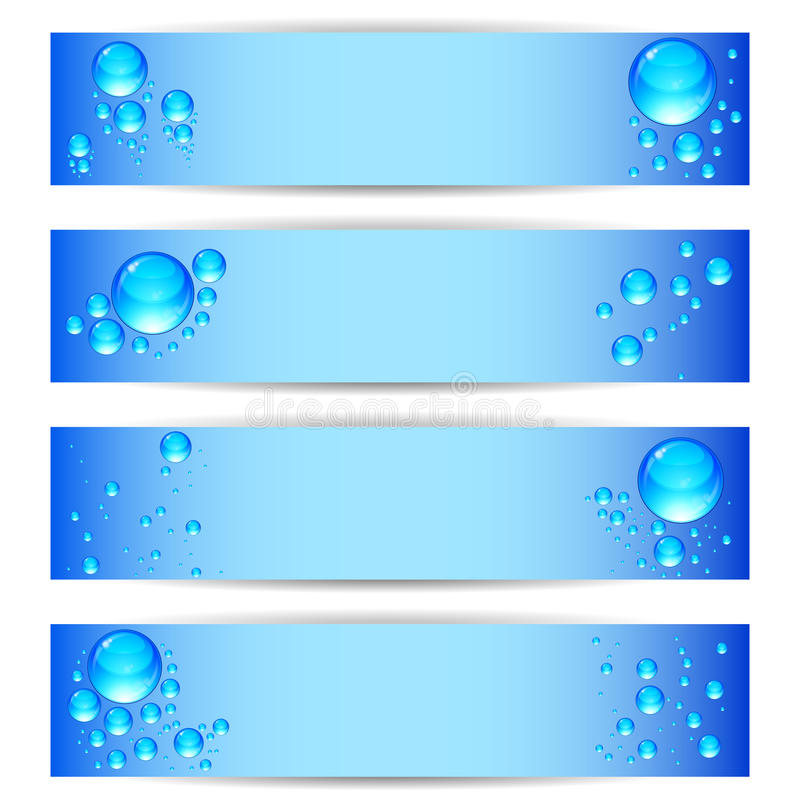 Set banners with clean water bubbles on a blue background. Vector set banners with clean water bubbles on a blue background vector illustration