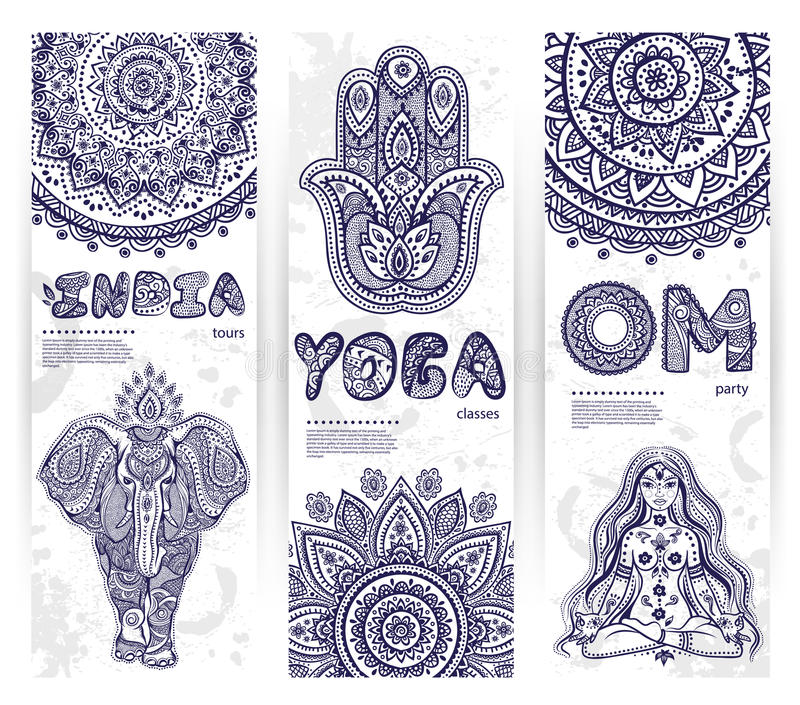 Vector set of banners with ethnic and yoga symbols royalty free illustration
