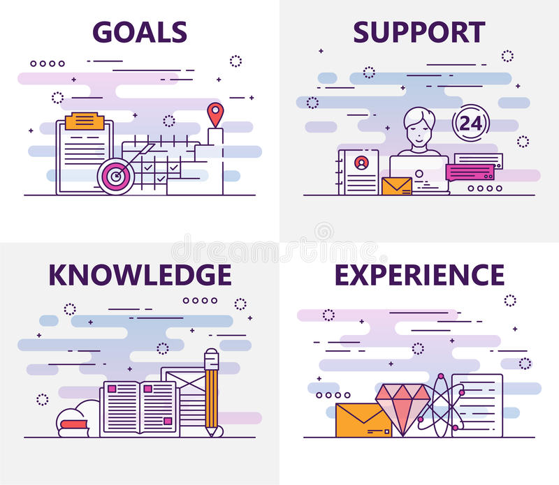Vector set of banners with goals, support, knowledge, experience concept elements. Thin line flat design symbols and stock illustration