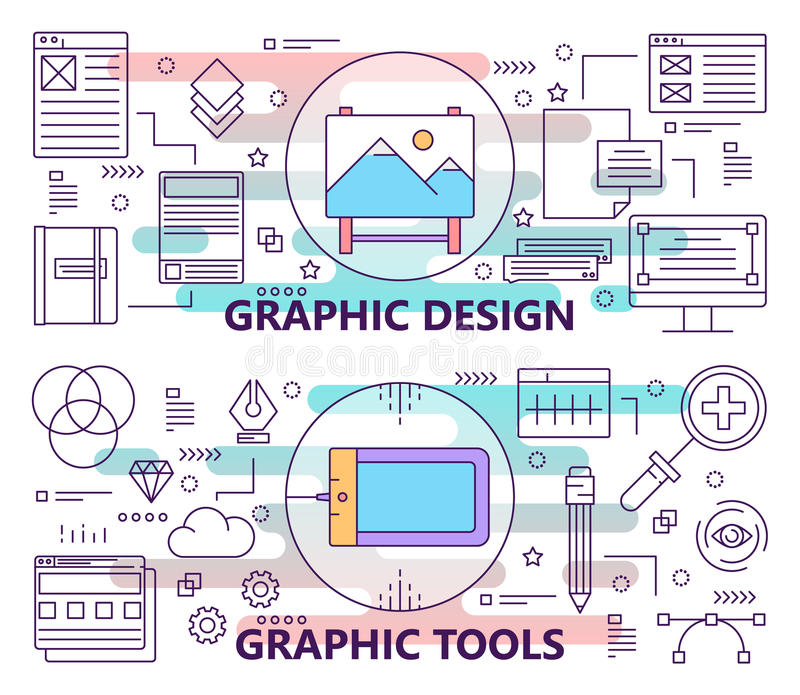 Vector set of banners with graphic design and graphic tools concept templates. Modern thin line flat design elements stock illustration