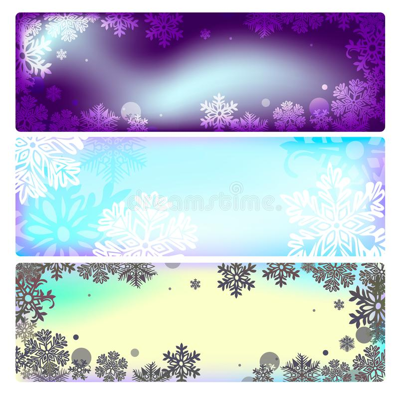 Vector set of banners isolated on white background, for the design of discount coupons, invitations, cards, Christmas design, wint stock illustration