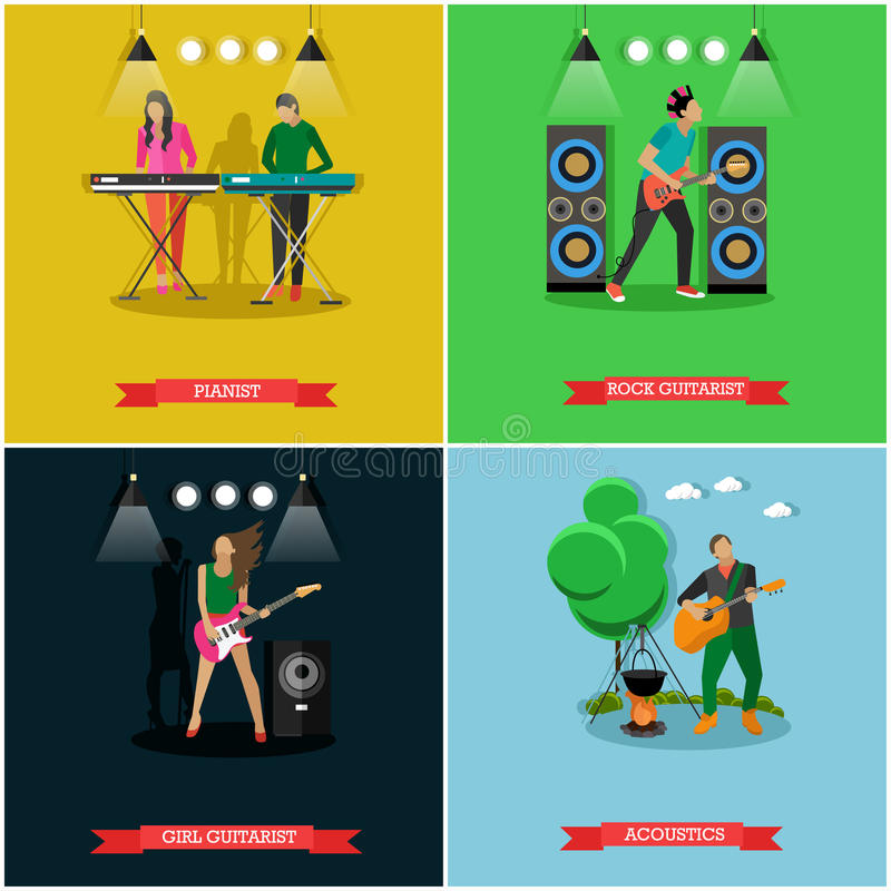 Vector set of banners with musicians playing guitar and piano royalty free illustration