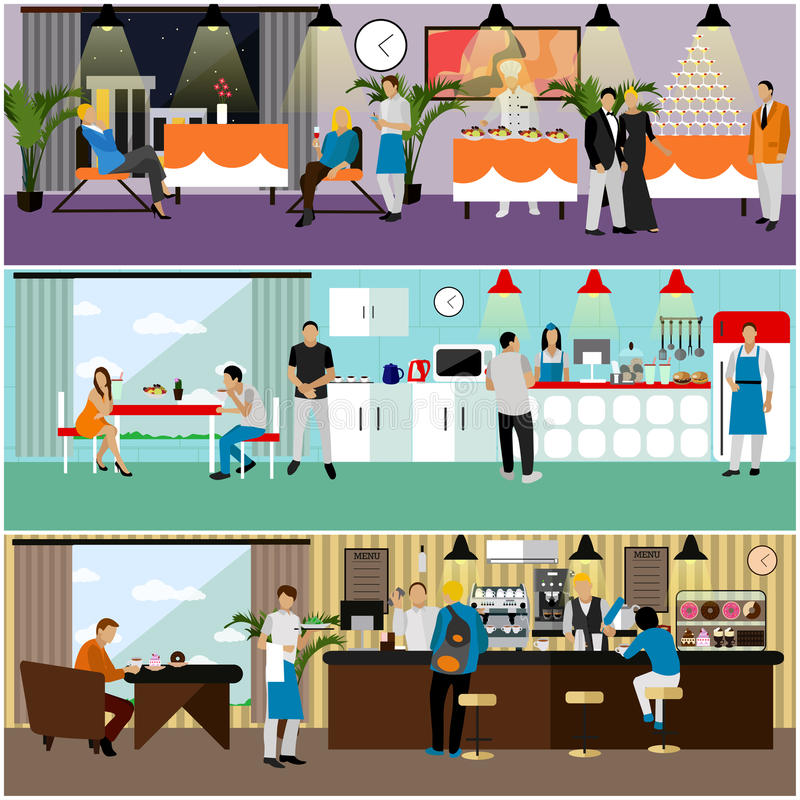 Vector set of banners with restaurant interiors. People having lunch in cafe. stock illustration