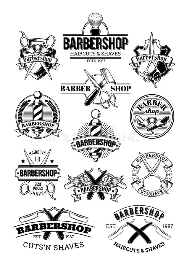 Vector set of barbershop logos, signage. Made in engraving style vector illustration
