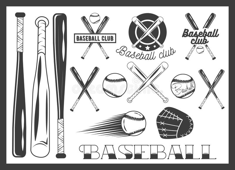 Vector set of baseball club emblem, label, badges. Logo and design elements. Sport icons in vintage style. Baseball bat, ball, glove. Crossed bats stock illustration