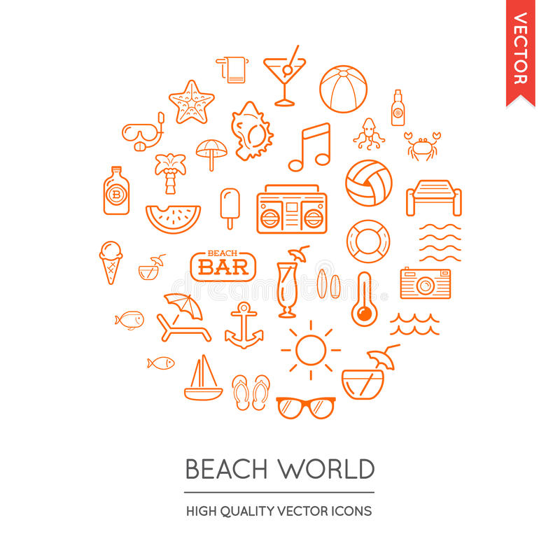Vector Set of Beach Modern Flat Thin Icons Inscribed in Round Sh stock illustration