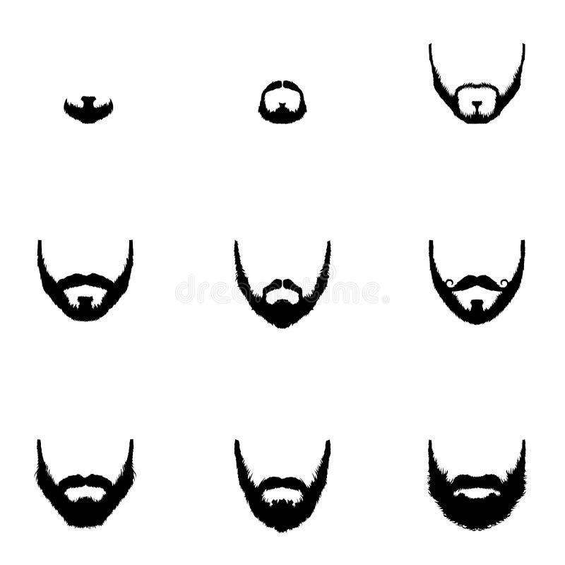 Vector Set of Beard Silhouettes stock illustration