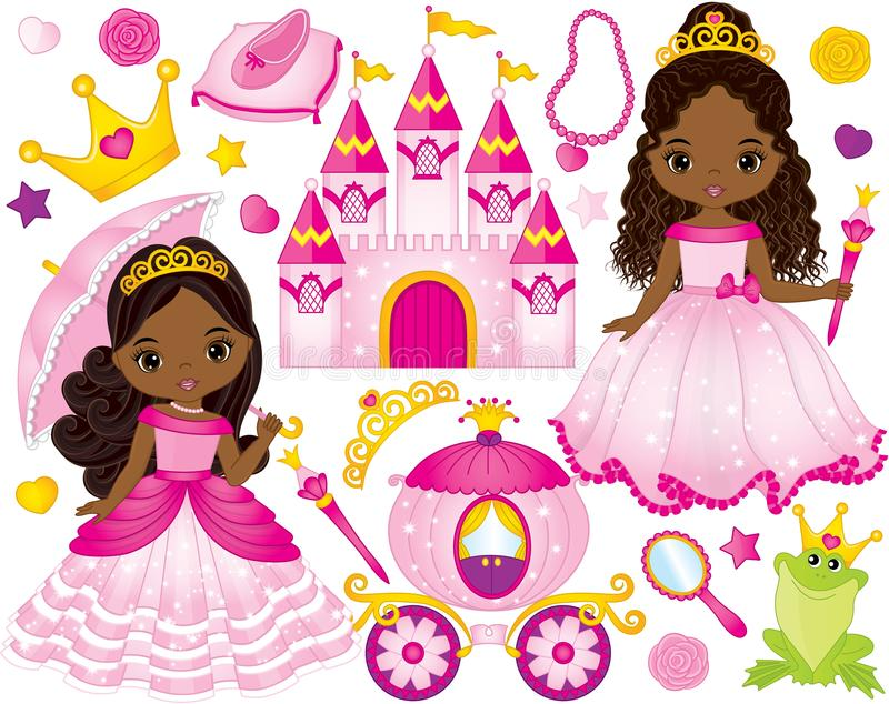 Vector Set of Beautiful African American Princesses and Fairytale Elements royalty free illustration