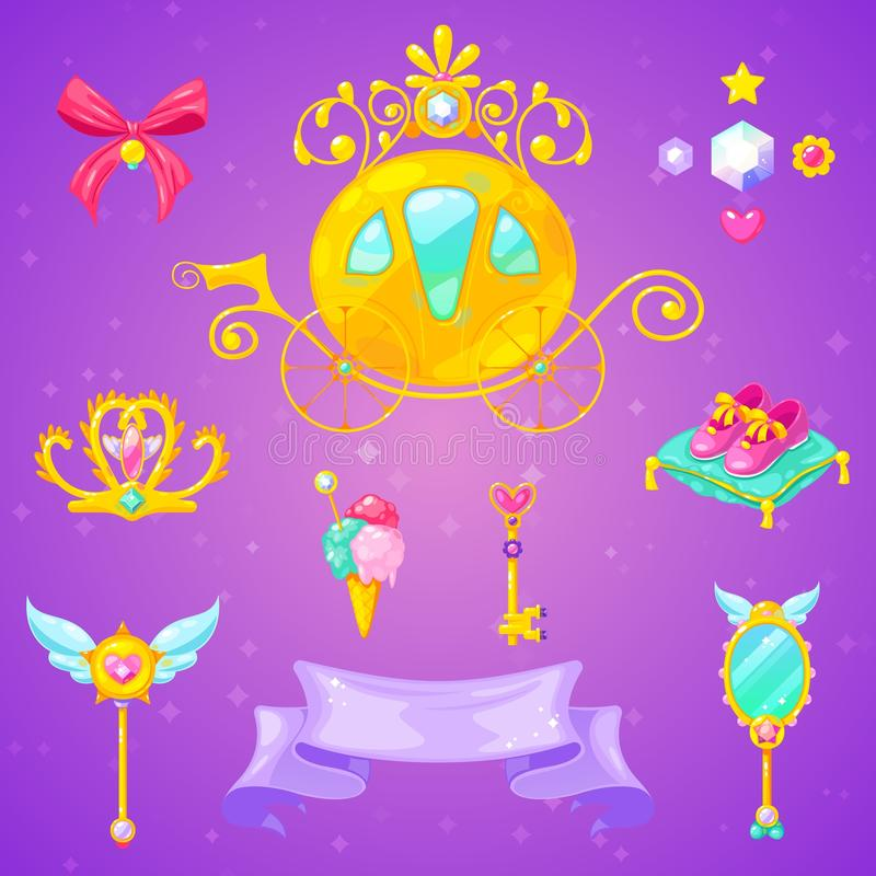 Set of Princess accessories stock image