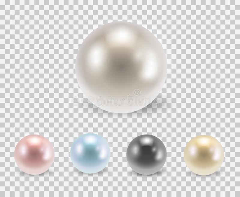 Vector set of beautiful colorful shiny pearls with shadows isolated on transparent background royalty free illustration