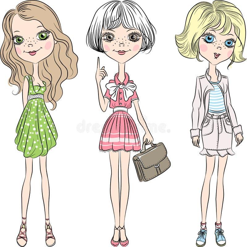 Free Vector Set Beautiful Cute Fashion Girl Stock Photography - 38252912
