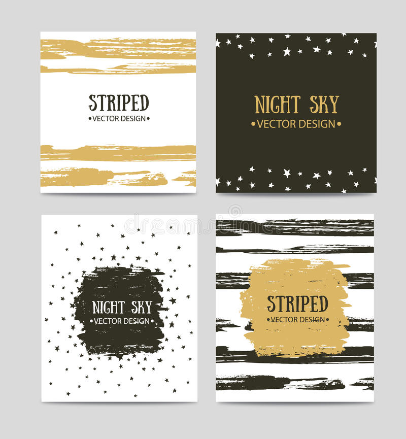 Vector set of beautiful hand drawn greeting cards templates. Text message, lettering, gift. vector illustration