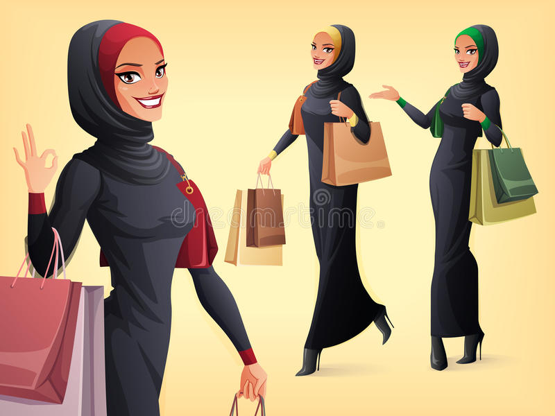 Vector set of beautiful Muslim woman in different poses. Beautiful smiling Muslim Arab woman in abaya and hijab with shopping bags. Vector set of character in royalty free illustration