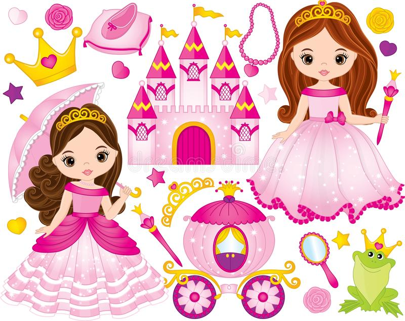 Vector Set of Beautiful Princesses and Fairytale Elements. Vector set of beautiful princesses, castle, carriage, frog, crown, shoe and accessories. Vector