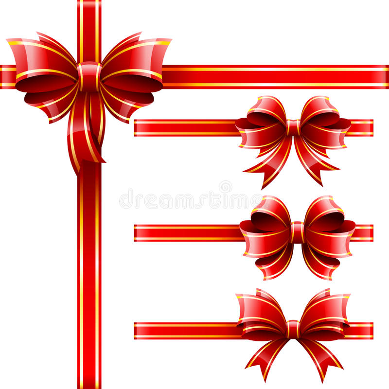 Gift baw. Vector set of beautiful red gift baws stock illustration