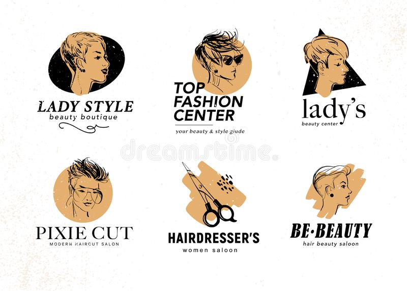 Vector set of beauty center & hairdresser salon logo design with hand drawn beautiful pixie ladies isolated on white background. royalty free illustration