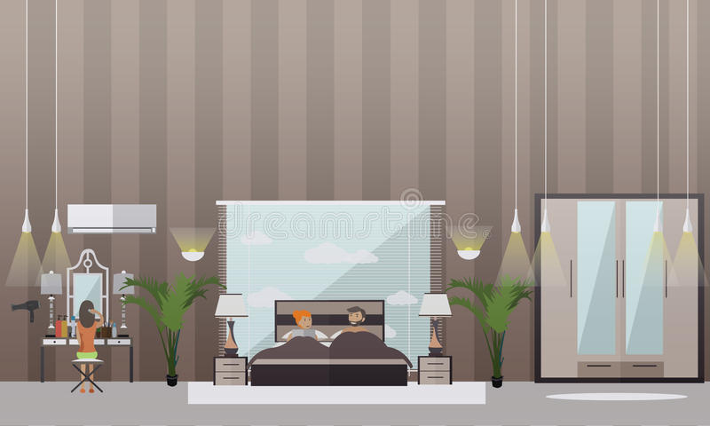 Vector set of bedroom flat style design elements royalty free illustration