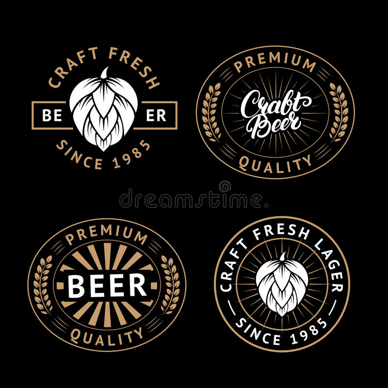 Vector set of beer labels in retro style. Vintage craft beer brewery emblems, logo, stickers and design elements stock illustration