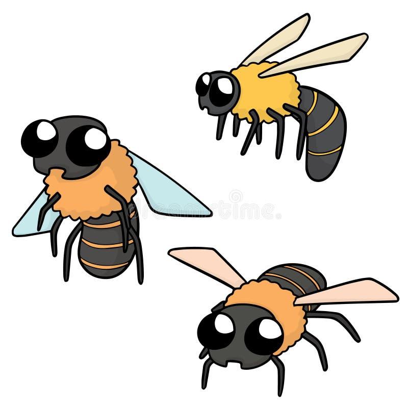 Vector set of bees. Hand drawn cartoon, doodle illustration royalty free illustration