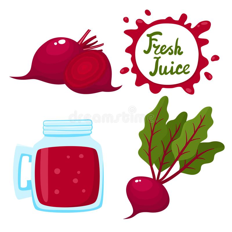 Vector set of beetroots juice and beetroots isolated on white. Vector set of natural fresh beetroots juice in bank and beetroots isolated on white. Healthy stock illustration