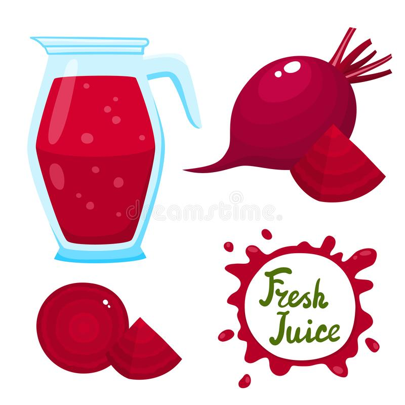 Vector set of beetroots juice and beetroots isolated on white. Vector set of natural fresh beetroots juice in jar and beetroots isolated on white. Healthy stock illustration