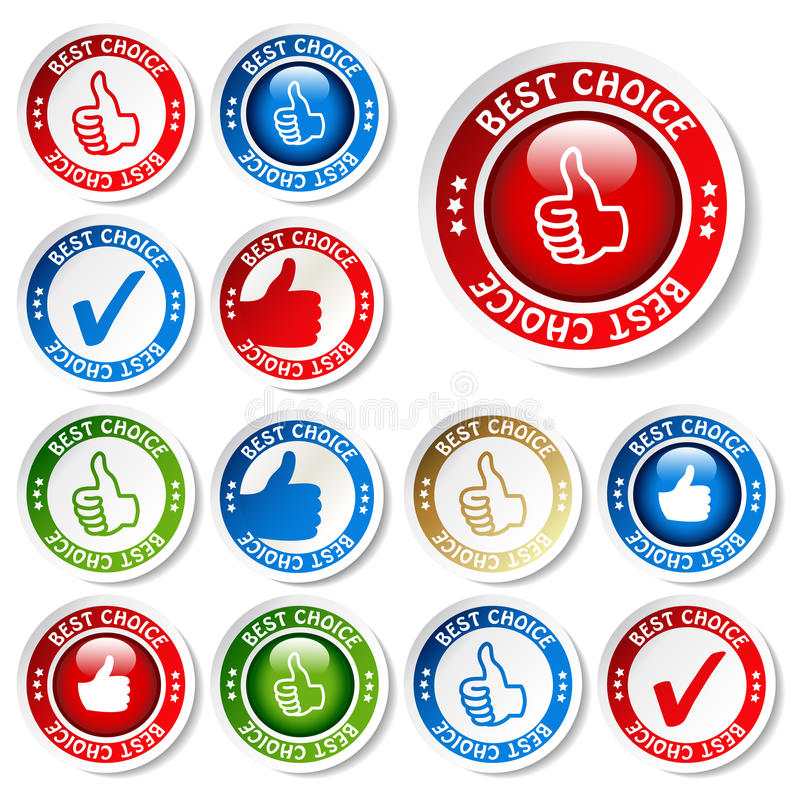 vector set of best choice stickers royalty free illustration
