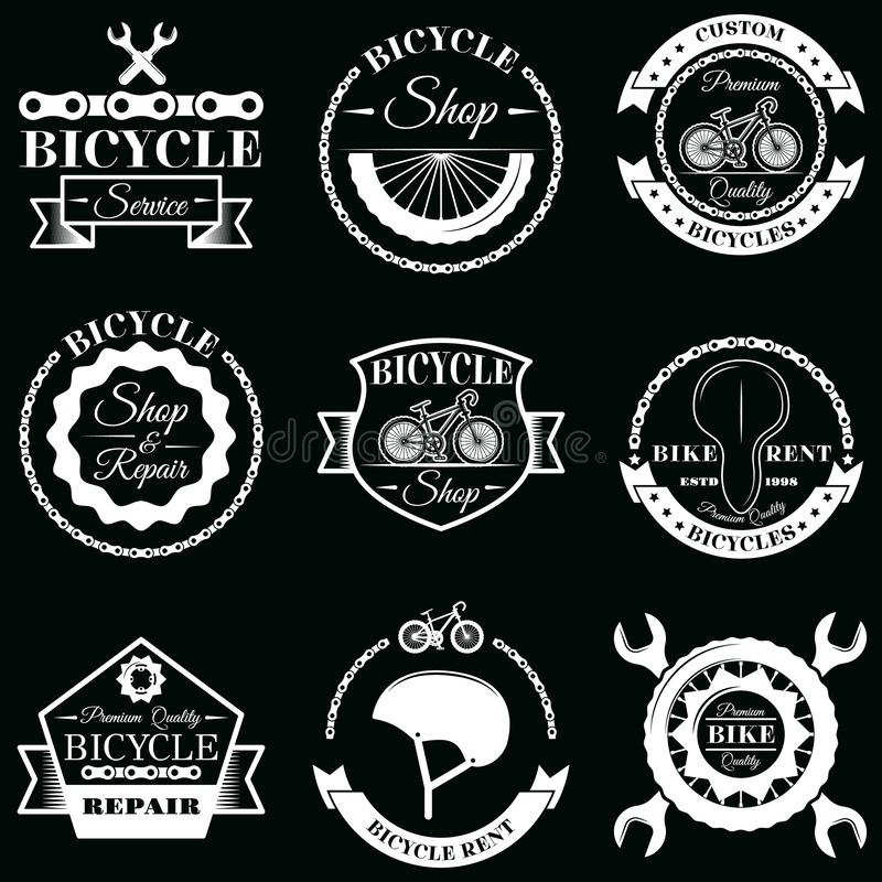 Vector set of bicycle service badges labels logo stock illustration