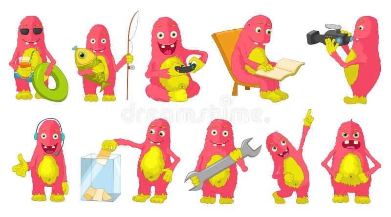 Vector set of big pink monsters cartoon illustrations. vector illustration