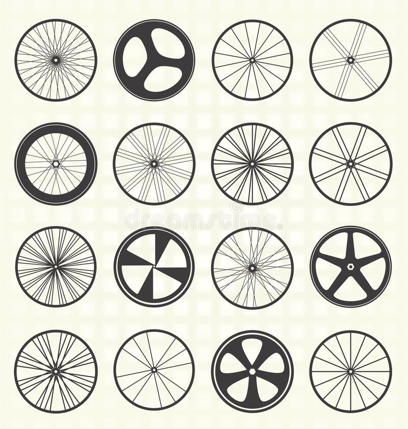 Vector Set: Bike Wheel Silhouettes