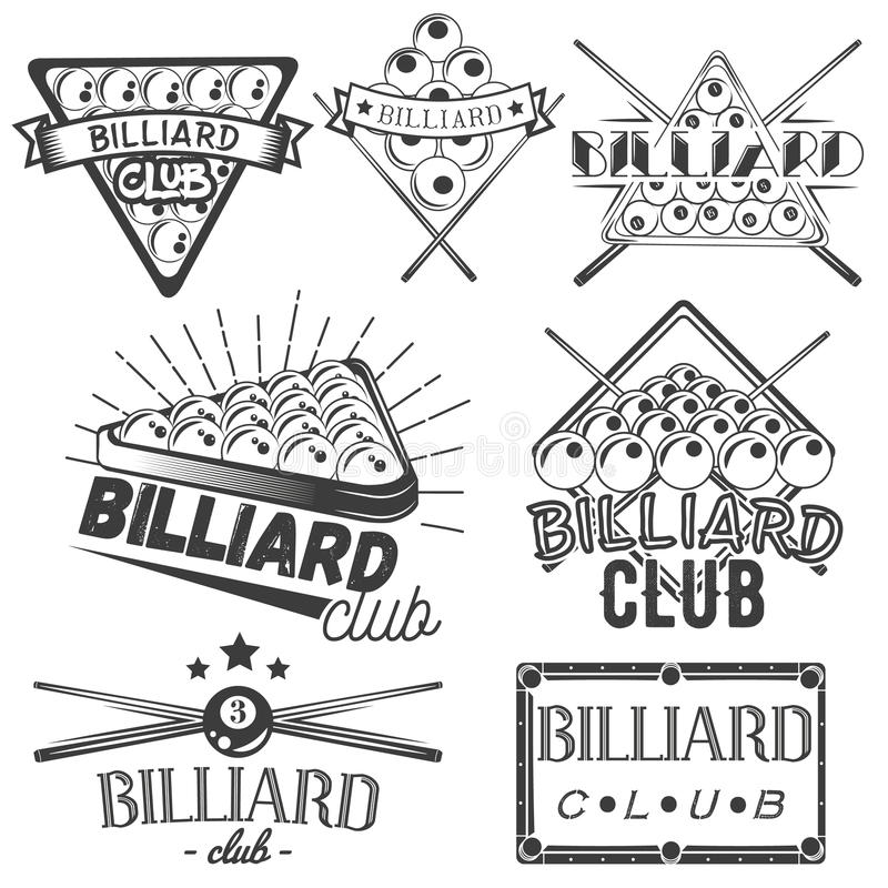 Vector set of billiard labels in vintage style. Sport concept. Billiard cue and balls. royalty free illustration