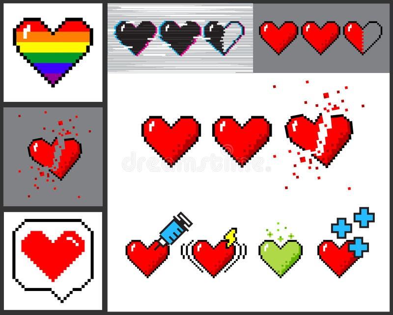 Vector set of 8 bit pixel art hearts stock illustration