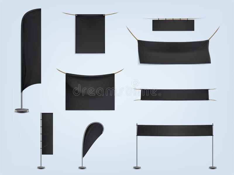 Vector set of black blank textile banners vector illustration