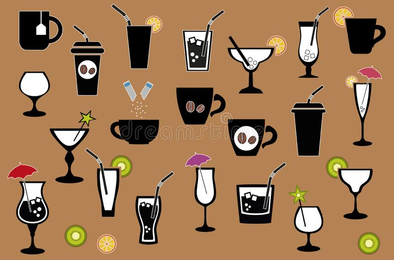 Vector Set of Black Drinks Icons. Tea, Coffee, Alcohol, Martini, Wine, Beer, Mineral Water, Fizzy Water, Smoothie, Cocktail royalty free illustration
