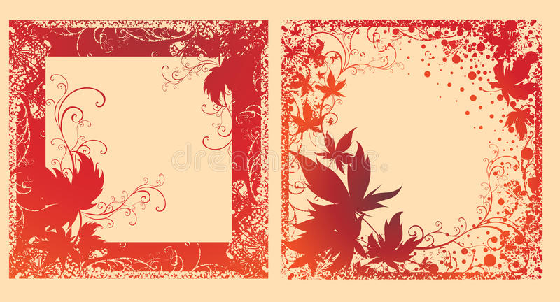Vector Set Of Black Frames With Autumn Leafs. Royalty Free Stock Photos