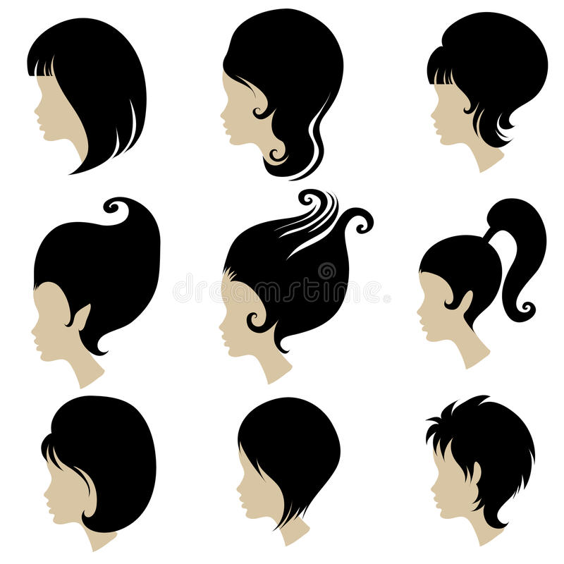 Vector Set Of Black Hair Styling For Woman Royalty Free Stock Images