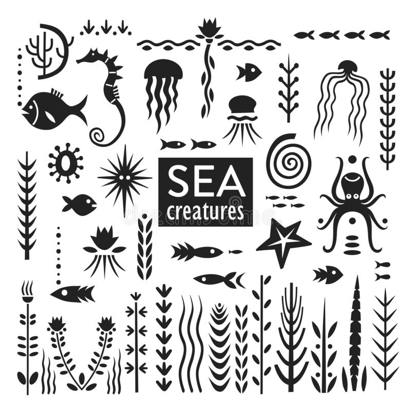 Vector set of black hand-drawn silhouettes of sea creatures and weeds royalty free illustration
