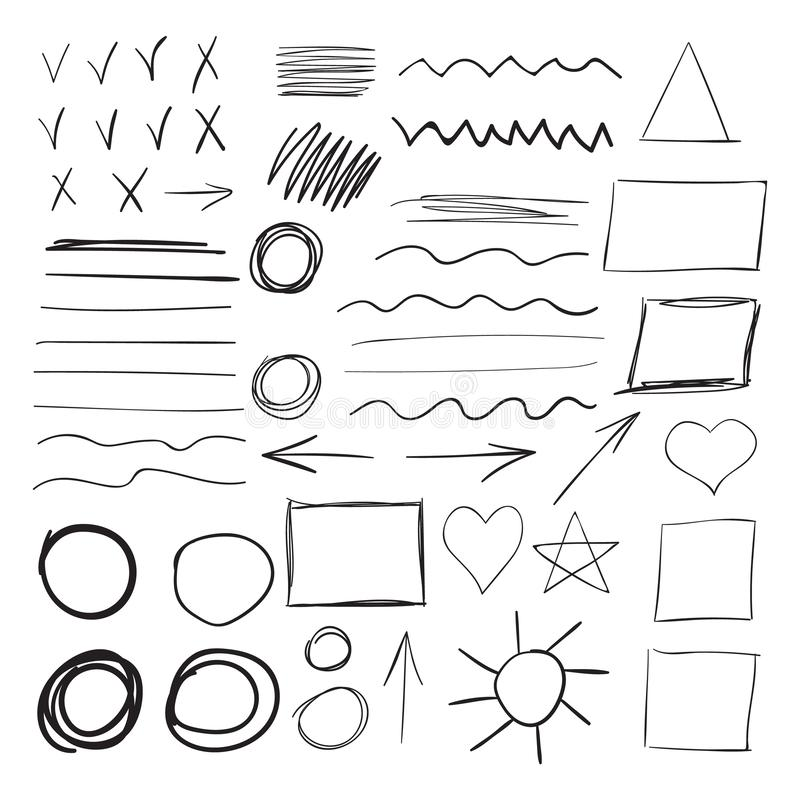 Vector set of black ink brush strokes stock illustration
