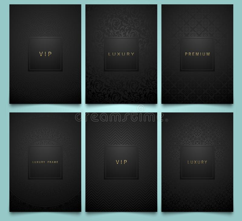 Vector set black packaging templates with brilliant linear geometric and floral damask pattern texture for luxury product. Trendy design for logo. Premium royalty free illustration
