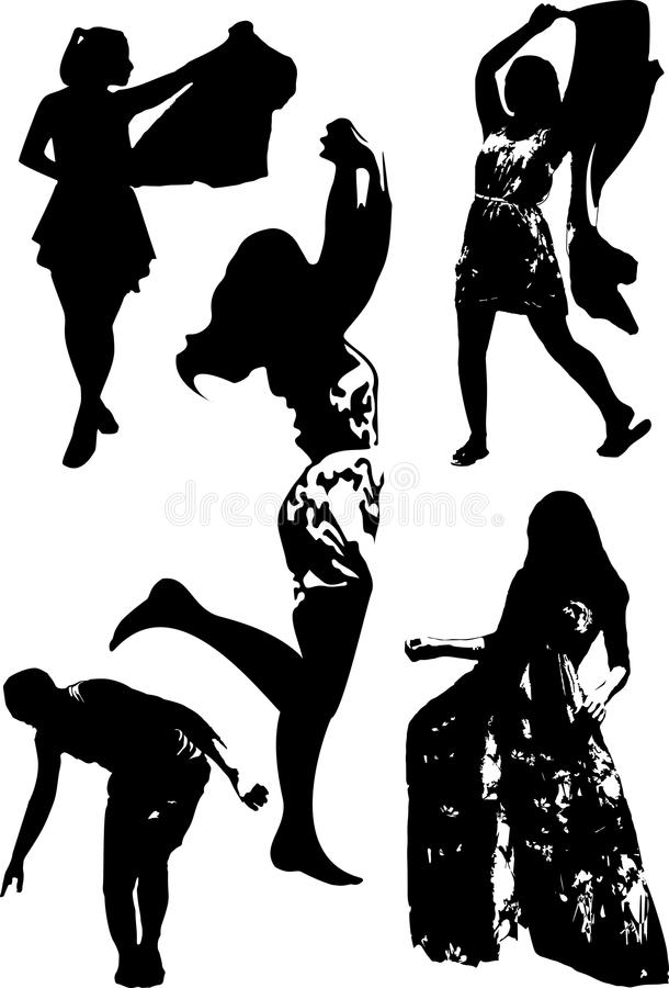 Vector set of black silhouettes of girls in various poses of movement stock illustration